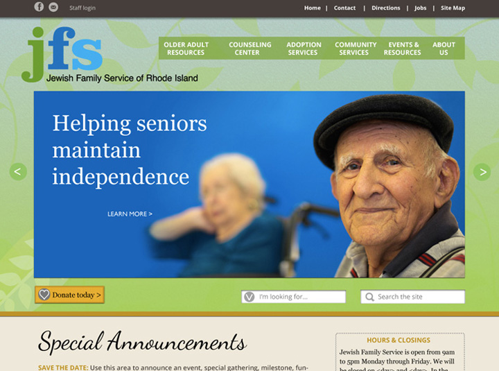 Website for a nonprofit social services agency