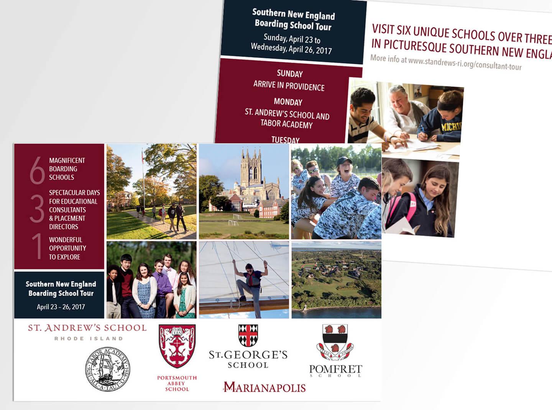 Promotional postcard for boarding school