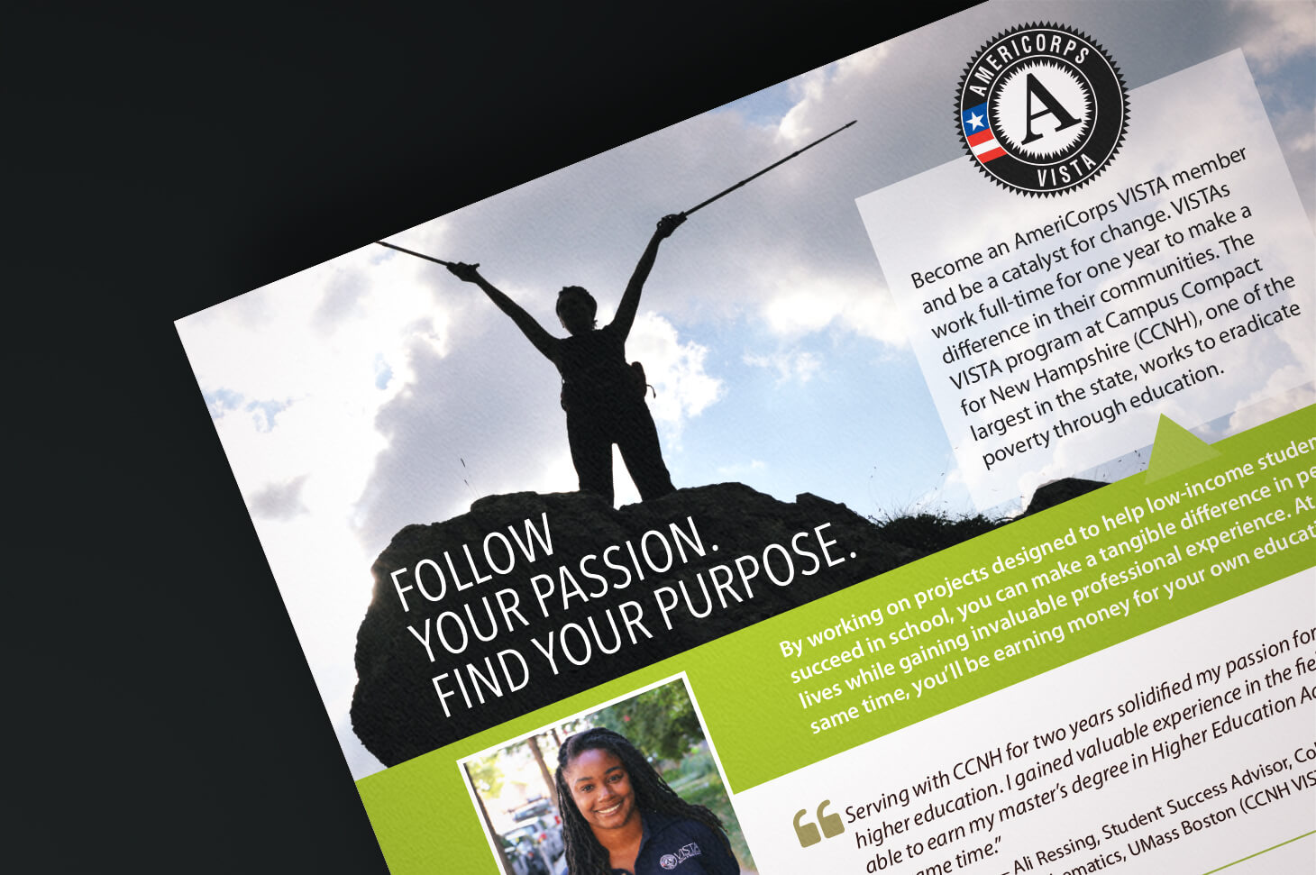 promotional materials for a higher education organization