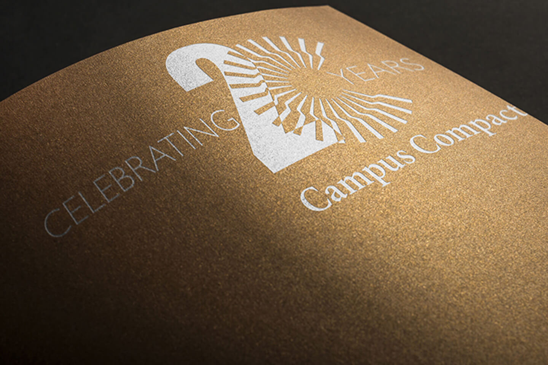 Anniversary logo for higher education organization