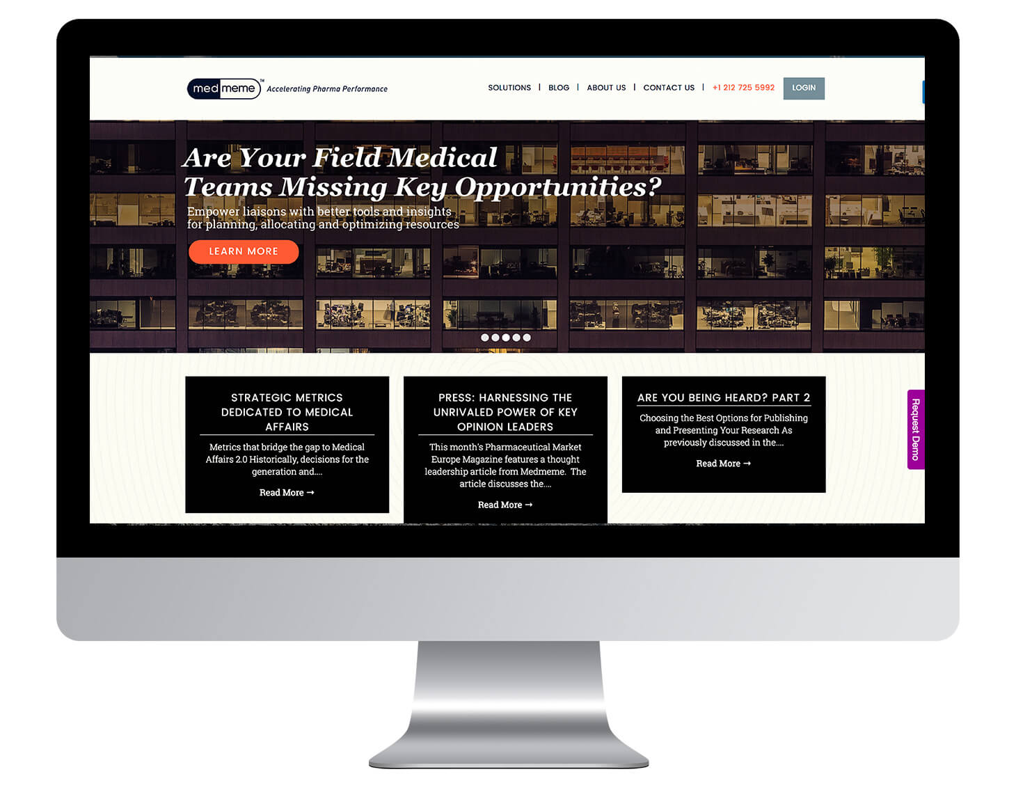 Website for medical data company